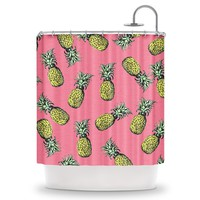 ihomegift Pink pineapple pattern Creative maple Designs Print Polyester Fabric Shower Curtain