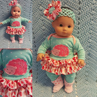 """Baby Doll Clothes to fit 15 inch doll """"My Hedgehog Valentine"""" Will fit Bitty Baby®  doll outfit dress leggings socks handmade C1"""