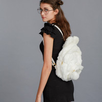 Fluffy Bunny Backpack - Pink/White/Black