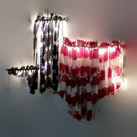 Light Up Texas Wreath with American Flag, Shabby Chic Americana Wall Decor, Large Iron State Shape with Frayed Material and Twinkle Lights