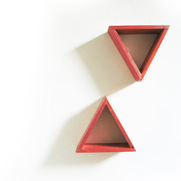 Triangle Wall Shelves Primary Red Shelf Set of 2