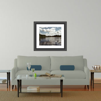 Nature Photography Waterscape Outdoor 11x14 Fine Art Print blue green white clouds reflection