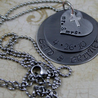 """Personalized Three Tiered Hand Stamped Stainless Steel Necklace.  """"Mr. and Mrs."""""""