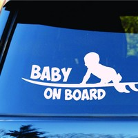 Dabbledown Decals Baby On Board Surfboards Surfboard Surfing Car Truck Window Windshield Lettering Decal Sticker Decals Stickers JDM Drift Dub Vw Lowered Jdm Fresh Detailed Stance Fitment 4x4
