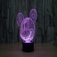 Mickey Mouse Night Light Lamp Looks like hologram technology room decoration design