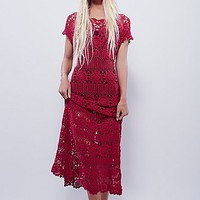 Free People Womens Fairytale Crochet Dress