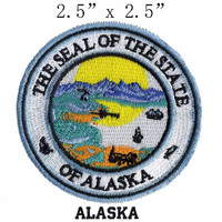 """Alaska State Seal 2.5"""" wide embroidery patch free shipping for military patches/fronzen/embroidery flower applique"""