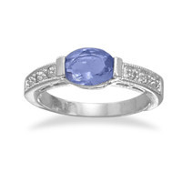 Rhodium Plated Oval Tanzanite Ring