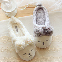 Pantuflas Pantofole Donna Animal Men Shoes Mujer Slippers Women Home Winter Cute Short Plush Squinting Sheep Chinelo Masculino