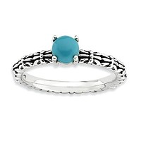 Sterling Silver Stackable Expressions Antiqued Pattern Turquoise Ring