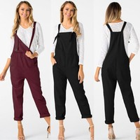 2018 summer womens romper Loose Dungarees Loose Long Pockets Rompers Jumpsuit Pants Trousers mamelucos womens jumpsuit  x30531