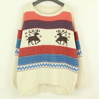 A 081902 zz Fawn stripe knit pullover loose