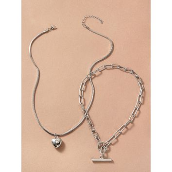 2pcs Heart & Bar Charm Necklace