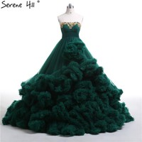 Royal embroidered beading Green Cloud long Train Luxury Wedding Dresses Puffy Ball Gown Wedding Dress