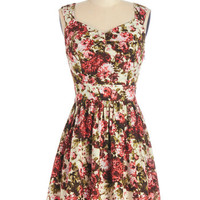ModCloth Mid-length Sleeveless A-line Floral Noir Dress in Bright