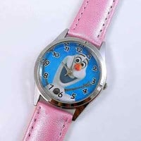 """Frozen """"Olaf"""" Pink Leather Watch...New..Great for Kids"""