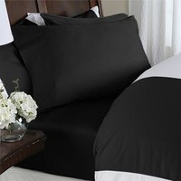 "Elegant Comfort ® 1500 Thread Count WRINKLE & FADE RESISTANT 4 pc Sheet set, Deep Pocket Up to 18"" - All Size and Colors , Queen Black"
