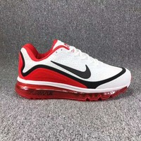 Tagre™ Nike Air Max Fashion Men Sport Running Sneakers Shoes Shock Absorption Shoes White Red(Black Hook) I-CSXY