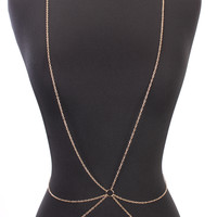 Gold High Polish Centered O Ring Draped Body Chain