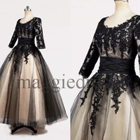Custom Black Champagne Lace Victorial Wedding Dresses Bridal Gowns Long Prom Dresses Party Dress Wedding Party Dress Evening Dresses
