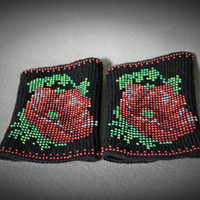 Arm Wrist Warmers Beaded Red Poppies - Unique Handmade Beaded Black Wrist Warmers Fingerless Gloves Cuff - Luxurious Cashmere Wool