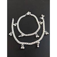 Oxidized silver simple bead hanging casual Anklets