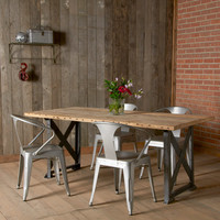 """Modern Industrial Dining Table and """"x"""" styled factory steel base. (72"""" x 36"""" x 30"""") free shipping special"""