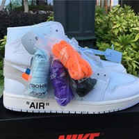 "OFF-WHITE x Air Jordan 1 ""White"" AQ0818-100 #36---#47.5"