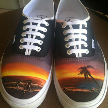 Vans Authentic with laces, Beach theme