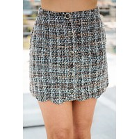 Check The Resume Tweed Skirt (Brown Multi)