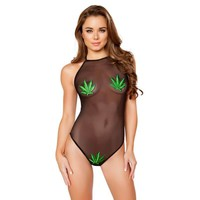 Sheer Romper with Weed Leaf Patch