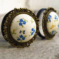 "Bluebell - Sizes 3/4 (19mm) to 1"" (25mm) romantic vintage plugs for stretched ears"