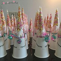 50pcs DIY Wedding Birthday Party Sweet Cellophane Clear Candy Cone Storage Bags Unicorn Party Decor Easter Decoration 18x37cm