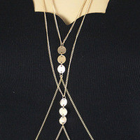Women Gold Plated Body Chain Necklace