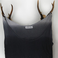 dip dyed crop top ~ pine tree forest ~ night sky ~bleach pen ~recycled fabric