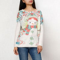 Snowman Pattern Pullover Knit Sweater