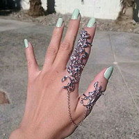 RHINESTONE ROSE LEAF FEATHER CHAIN CONNECT TWO 2 FULL FINGER KNUCKLE RING