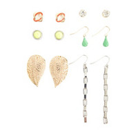 CHAIN LINK & LEAVES EARRING SET