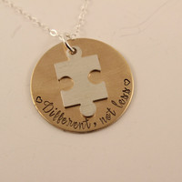 """""""Different, not less"""" - Brass & sterling silver necklace with puzzle piece charm"""