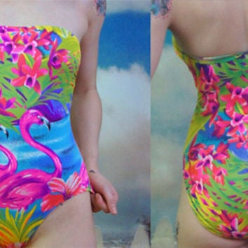 90s neon tropical lisa frank style strapless bandeau bathing suit one piece
