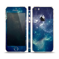 The Subtle Blue and Green Nebula Skin Set for the Apple iPhone 5s