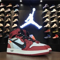 Best Deal Online Nike Air Jordan 1 OFF-WHITE Retro High OG 10X Women Men Sneaker AA3834-101
