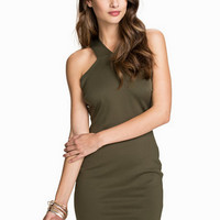 Army Green Cross Bodycon Party Dress