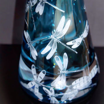 Dragonfly Decanter Hand Engraved with Dragon flies
