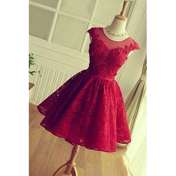 Short Lace Prom Dress, Homecoming Dresses, Graduation School Party Gown, Winter Formal Dress, DT0160