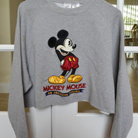 Mickey Mouse Cropped Crewneck Sweatshirt Gray Oversized 90s Vintage XXL