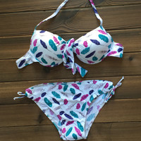 Feather Bikini Swimsuits Push Up