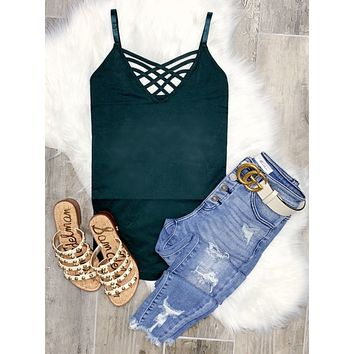 Long Caged Cami - Hunter Green