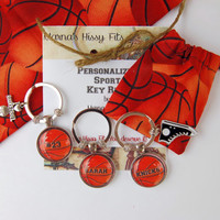 Basketball Key Ring Personalized Sports Key Chain with Charm in Matching Fabric Gift Bag for Sons Daughters Friends Teams