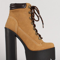 Lace Up Chunky Platform Ankle Work Boot